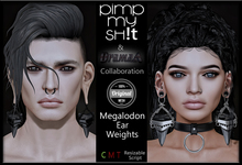 PMS/DramaA - Megalodon Ear Weights  **Silver**