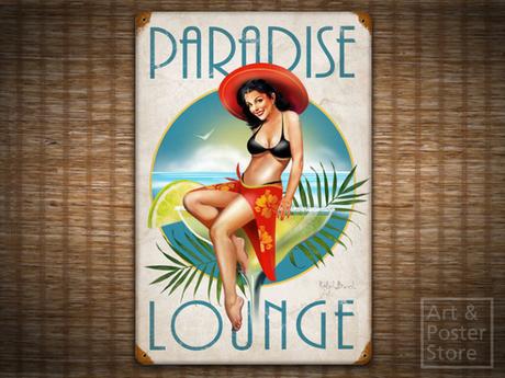 PARADISE LOUNGE Retro Pin-Up Girl TIKI BAR METAL SIGN Poster