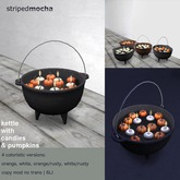 PROMO striped mocha - kettle with candles & pumpkins
