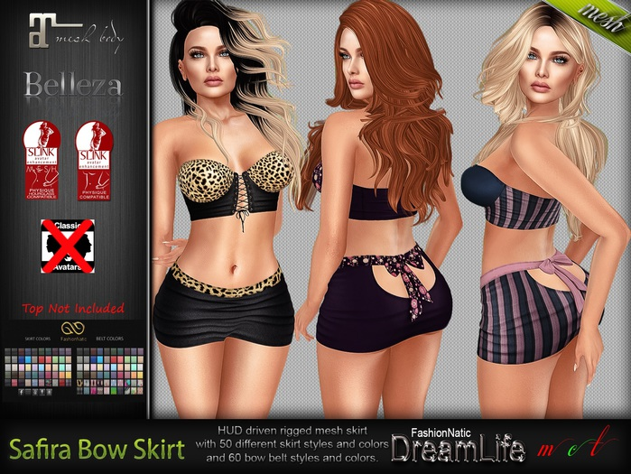 Safira Back Bow Skirt MESH - Maitreya Lara, Slink Physique Hourglass, Belleza, Freya, Isis, Venus - HUD - FashionNatic