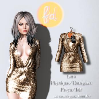 (fd) Open Party Dress - Sequin Gold