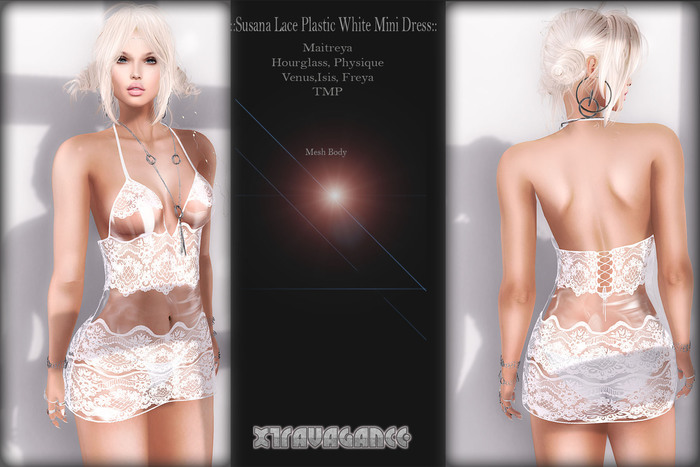 ::XT:: - Susana Lace Plastic White Mini Dress