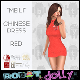 """Robot Dolly - """"Meili"""" - Chinese Dress - Red"""