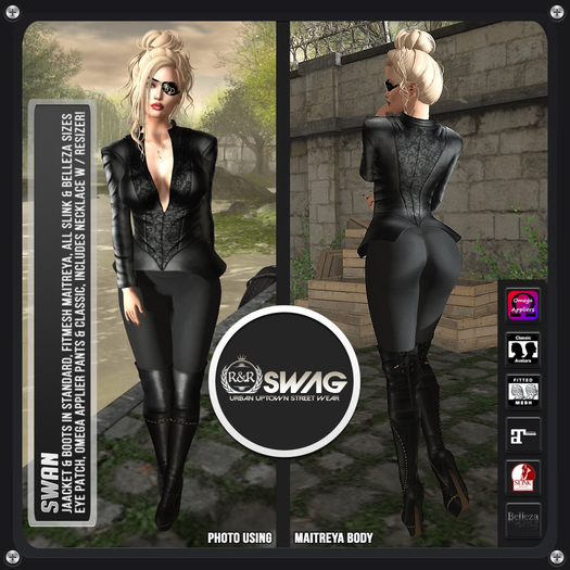 [RnR] Swag Swan Pirate, Gothic & or Biker Outfit (Black)