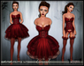 [Wishbox] Crush (Lusty Red) - Valentine's Day EGL Dress and Lingerie Garter Set w/ Stockings & Heels. Goth