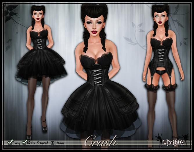 [Wishbox] Crush (Black Bird) - Sexy EGL Gothic Lolita Dress and Lingerie Garter Set w/ Heels Goth