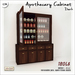 V/W] Apothecary Cabinet Dark - Vintage or medieval pharmacy shelves with open/close glass - Mesh furniture