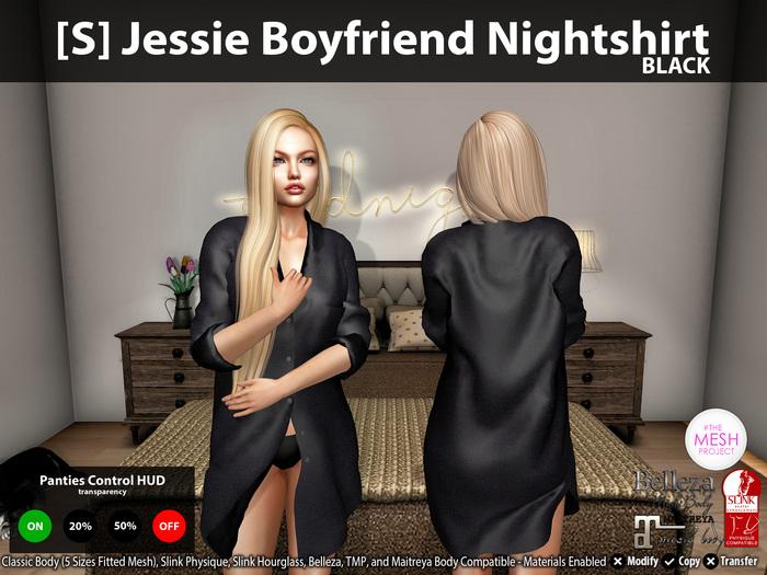 [S] Jessie Boyfriend Nightshirt Black