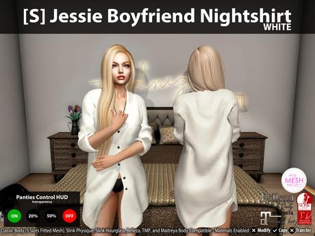 [S] Jessie Boyfriend Nightshirt White