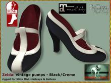 Bliensen + MaiTai - Zelda - Vintage Pumps - Black/Cream