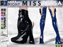 0o MissTessa LATEX Boots (NIGHT) for MAITREYA / high thigh + ankle boots / Your Texture