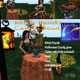 Witch Hands  bowl & table set Halloween candy giver Crate