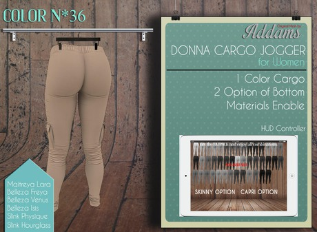 "Addams ""Donna"" Cargo Jogger Pants - Mesh for Maitreya, Belleza, Slink #36"
