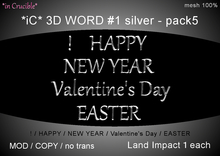 *iC* 3D Words #1 silver - pack5