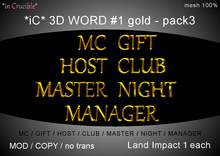 *iC* 3D Words #1 gold - pack3