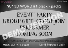 DEMO[*iC* 3D Words #1 black - pack2]DEMO