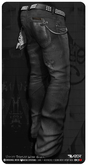 Razor/// Versed Denim Jeans w/ Studded Belt - Black