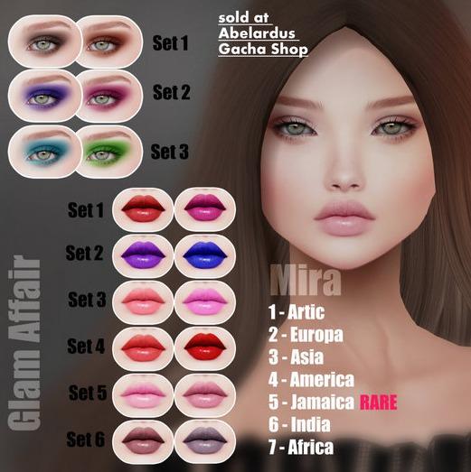 Glam Affair - Mira Lipstick  for Catwa Heads - SET 6