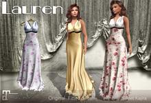 *Sweet Kajira* Lauren blue floral Fitted mesh dress Maitreya(bo