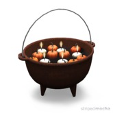 striped mocha - kettle with candles & pumpkins