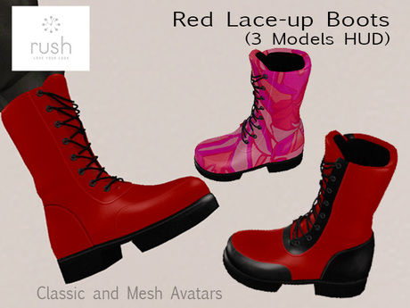 RUSH Red Lace-Up BOOTS (3 Models HUD) Pack