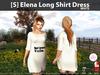 s  elena long shirt dress white pic