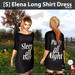 s  elena long shirt dress black ad