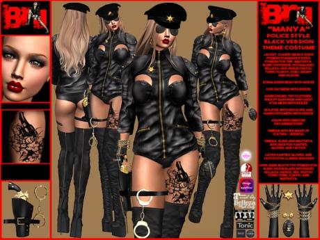 **MANYA BLACK VERSION POLICE STYLE THEME COSTUME**