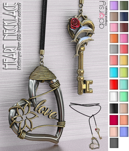 adorsy - Gold Silver Women Heart Key Necklace - Maitreya