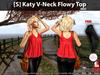 [S] Katy V-Neck Flowy Top Red