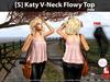 [S] Katy V-Neck Flowy Top Pink