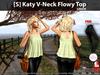[S] Katy V-Neck Flowy Top Green