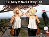 [S] Katy V-Neck Flowy Top White