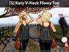 [S] Katy V-Neck Flowy Top Black