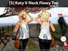 [S] Katy V-Neck Flowy Top Bubbles