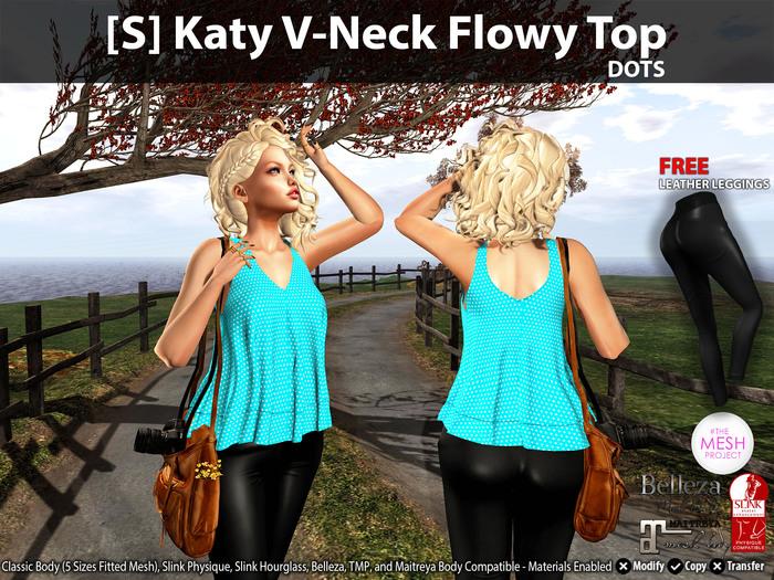 [S] Katy V-Neck Flowy Top Dots