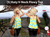 [S] Katy V-Neck Flowy Top Waves