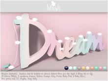 . BLUSH . Dream Logo Decoration With Lights Mesh
