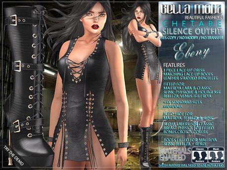 Bella Moda: Chetare Ebony Dress & Boots Outfit: Maitreya/Classic/Physique/Hourglass/Isis/Venus/Freya+Std