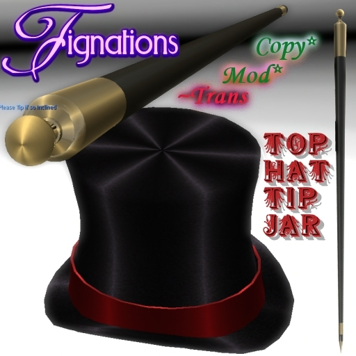 *Fig* Top Hat & Cane Multi User/Sharing Tip Jar