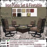 @incendia Iron Patio Set Texdture CHange & Firetable