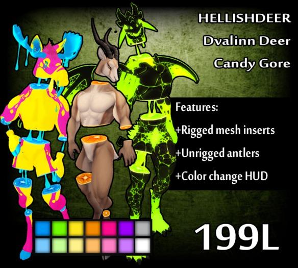 Second Life Marketplace Hellishdeer Dvalinn Candy Gore Not a deer fox hybrid, but a horned fox :3. hellishdeer dvalinn candy gore
