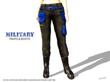[F] Military Pants & Boots - Blue - Fitmesh