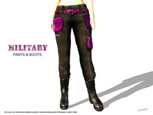 [F] Military Pants & Boots - Pink - Fitmesh