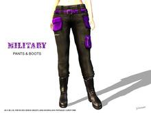 [F] Military Pants & Boots - Purple - Fitmesh