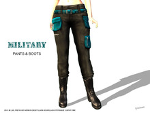 [F] Military Pants & Boots - Teal - Fitmesh