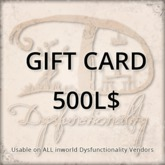 [DDD] Gift Card 500L$ - Usable on over 750 products inworld!