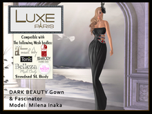 LUXE Paris DARK BEAUTY Gown & Fascinator