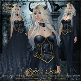 {AS} Night's Queen Fitted Mesh Gown: Maitreya, Slink, Physique, Hourglass, Venus, Freya, Isis; Witch, Vampire, Halloween