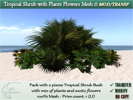 L$1 GIFT Shrubs Tropical w/ mix exotic Plants Flowers Bush. Pack 2 pcs. MOD/TRANSF f3